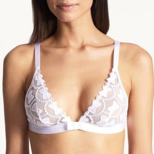 Aubade Bow Collection OC10 Triangle Bra Bralette Blanc